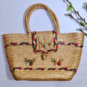 Handbags - Tan Green Pink Straw Purse, Woven Japanese Handbag